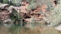 Algarve Tavira Pegos do Inferno waterfall A Stock Footage