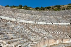 Greek-roman amphitheater in  the ancient  city ephesus Stock Photos