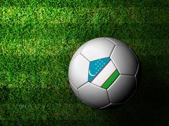 Stock Illustration of uzbekistan flag pattern 3d rendering of a soccer ball in green grass