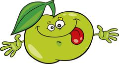 Cartoon green apple Stock Illustration