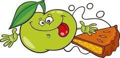 Stock Illustration of funny apple and pie