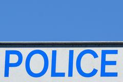 Police road sign Stock Photos