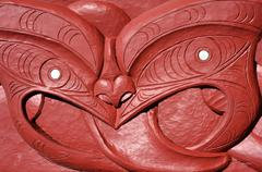 maori wood carvings artwork - stock photo