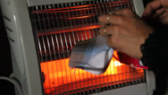 Stock Video Footage of drying clothes by heater electric