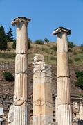 The ionic column in the ancient greek city ephesus Stock Photos