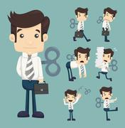 set of businessman with wind-up key - stock illustration