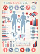 medical infographics elements. human body with internal organs. vector. - stock illustration