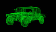 Stock Video Footage of Humvee Wireframe
