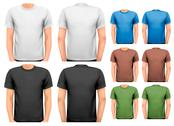 Stock Illustration of black and white and color men t-shirts. design template. vector.