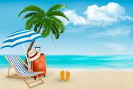 Stock Illustration of beach with palm trees and beach chair. summer vacation concept background. ve