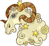 Zodiac aries sign - stock illustration