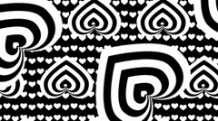 Black and white heart op art background - stock footage