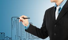 Stock Illustration of business man draw building and cityscape