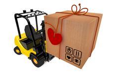 Postal parcel on loader Stock Illustration