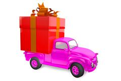 small lorry with gift - stock illustration