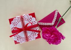 Red carnation and a gift box Stock Photos