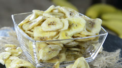 Dried bananas (loopable video) Stock Footage