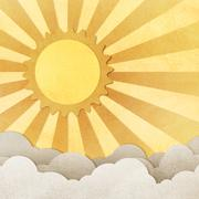 grunge paper texture sun and cloud - stock illustration