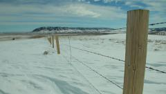 Fence Post in Winter - Pan Stock Footage