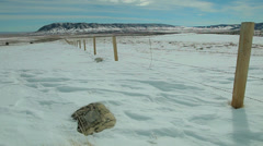 Fence Line in Winter Stock Footage