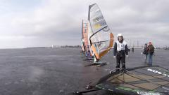 Starting line of the race winter windsurfing time Lapse Stock Footage