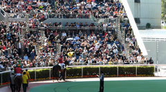 Gamblers viewing race horse Hong Kong Jockey club China Asia Stock Footage