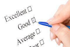 Excellent survey with pen Stock Photos