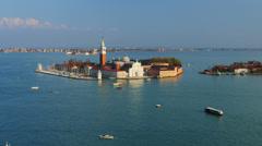 Venice lagoon, view on San Giorgio Maggiore island. Stock Footage