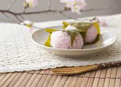 Stock Photo of Sakura mochi (cherry flavored soft sweet rice cake)
