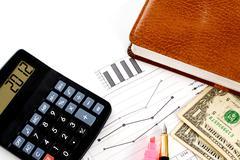 Account statements, credit calculations, calculators, pen and dollar bills Stock Photos