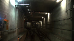 Subway Train - 04 - Long - Underground Tunnel and Station Stock Footage