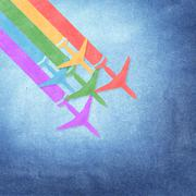 paper texture,colorful airplanes on grunge paper background - stock illustration