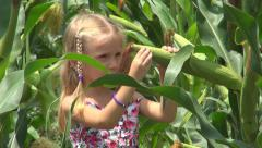 Child Verify, Checking Corn Harvest, Girl Playing in Field Children, Agriculture Stock Footage