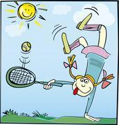 Funny little girl - stock illustration