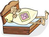 Stock Illustration of Man in too short bed