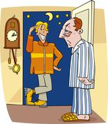 Visit in the middle of the night Stock Illustration