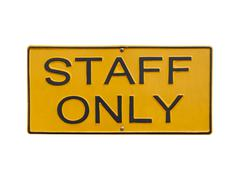 Staff only sign on white Stock Photos