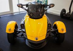 bangkok - september 22: the can-am spyder rs roadster on display at the prome - stock photo
