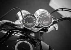 Bangkok - september 22: triumph speedometer gauges on display at the promenad Stock Photos