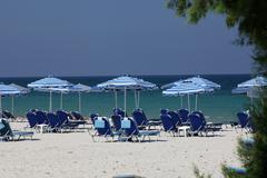 mastichari beach on kos island. - stock photo