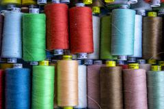 A background collection Cotton and Nylon thread reels  Stock Photos