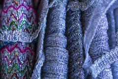 Silver braid cloth material Stock Photos