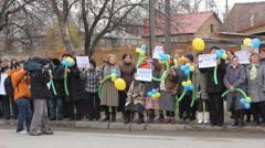 Ukrainian women protest against russian occupation in Crimea. - stock footage