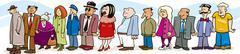 People in queue - stock illustration