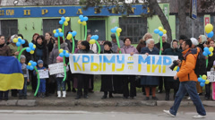 Ukrainian women protest against russian occupation in Crimea. Stock Footage