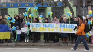 Stock Video Footage of Ukrainian women protest against russian occupation in Crimea.