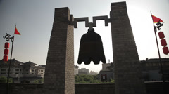 Bell on Xi'an city wall,Shaanxi,China Stock Footage