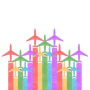 paper texture,colorful airplanes background - stock illustration