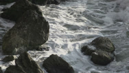Stock Video Footage of Turbulent water on a rocky coastline