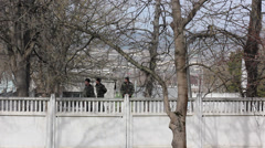Ukrainian soldiers behind the fence of the military division. Stock Footage